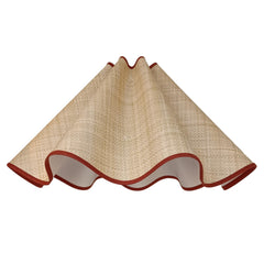Munro and Kerr collaboration with a Considered Space woven paper rafia wavey scallop lampshade with terracotta trim