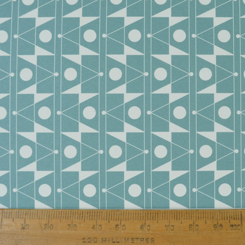 Munro and Kerr duck egg blue printed Esme Winter paper for a lampshade