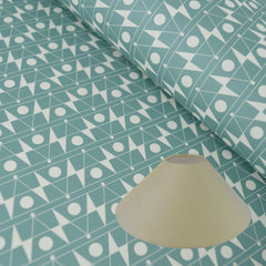 Munro and Kerr Duckegg blue geometric paper for a coolie lampshade