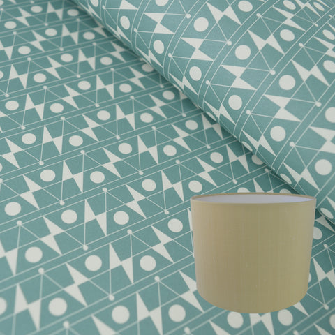 Munro and Kerr duck egg blue printed Esme Winter paper for a drum lampshade
