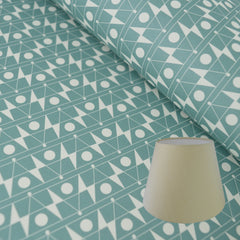 Munro and Kerr duck egg blue printed Esme Winter paper for an empire lampshade
