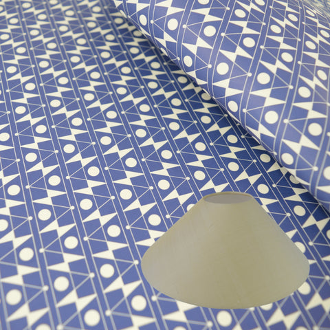 Munro and Kerr blue printed Esme Winter paper for a coolie lampshade