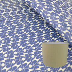 Munro and Kerr blue printed Esme Winter paper for a drum lampshade