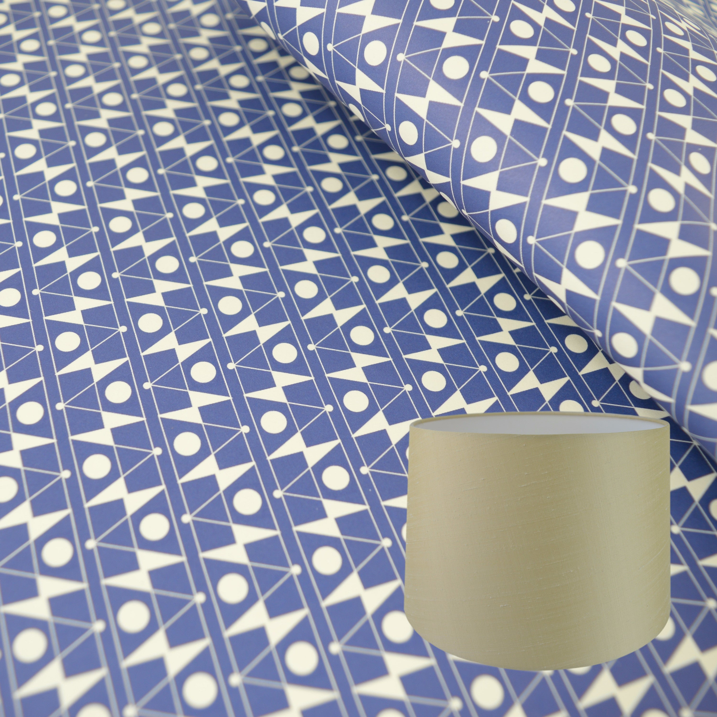 Munro and Kerr blue printed Esme Winter paper for a tapered drum lampshade