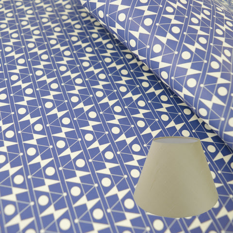 Munro and Kerr blue printed Esme Winter paper for a lampshade