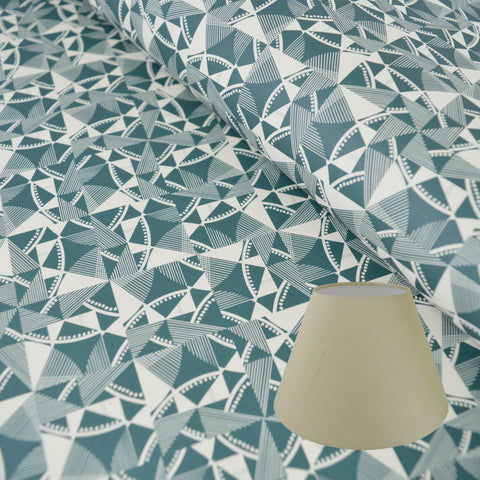 Munro and Kerr blue printed Esme Winter paper for a tapered empire lampshade
