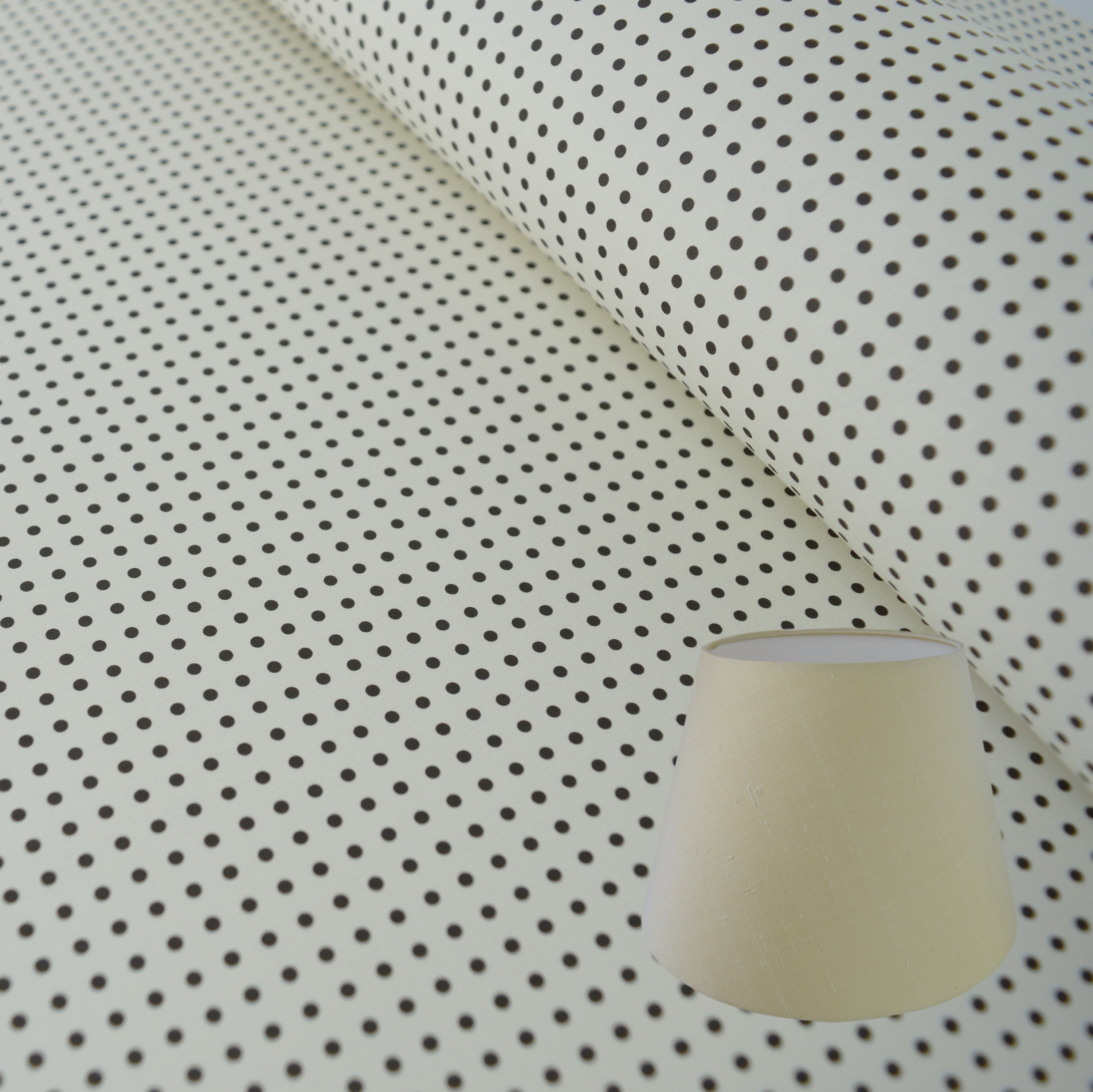 Munro and Kerr black and white monochrome printed spot paper for a lampshade