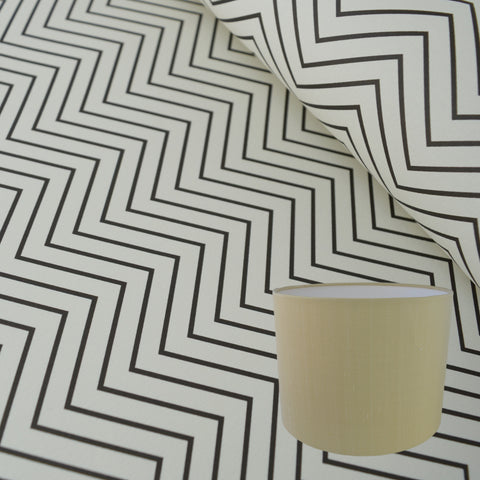 Munro and Kerr zig zag black and white monochrome paper for a drum lampshade