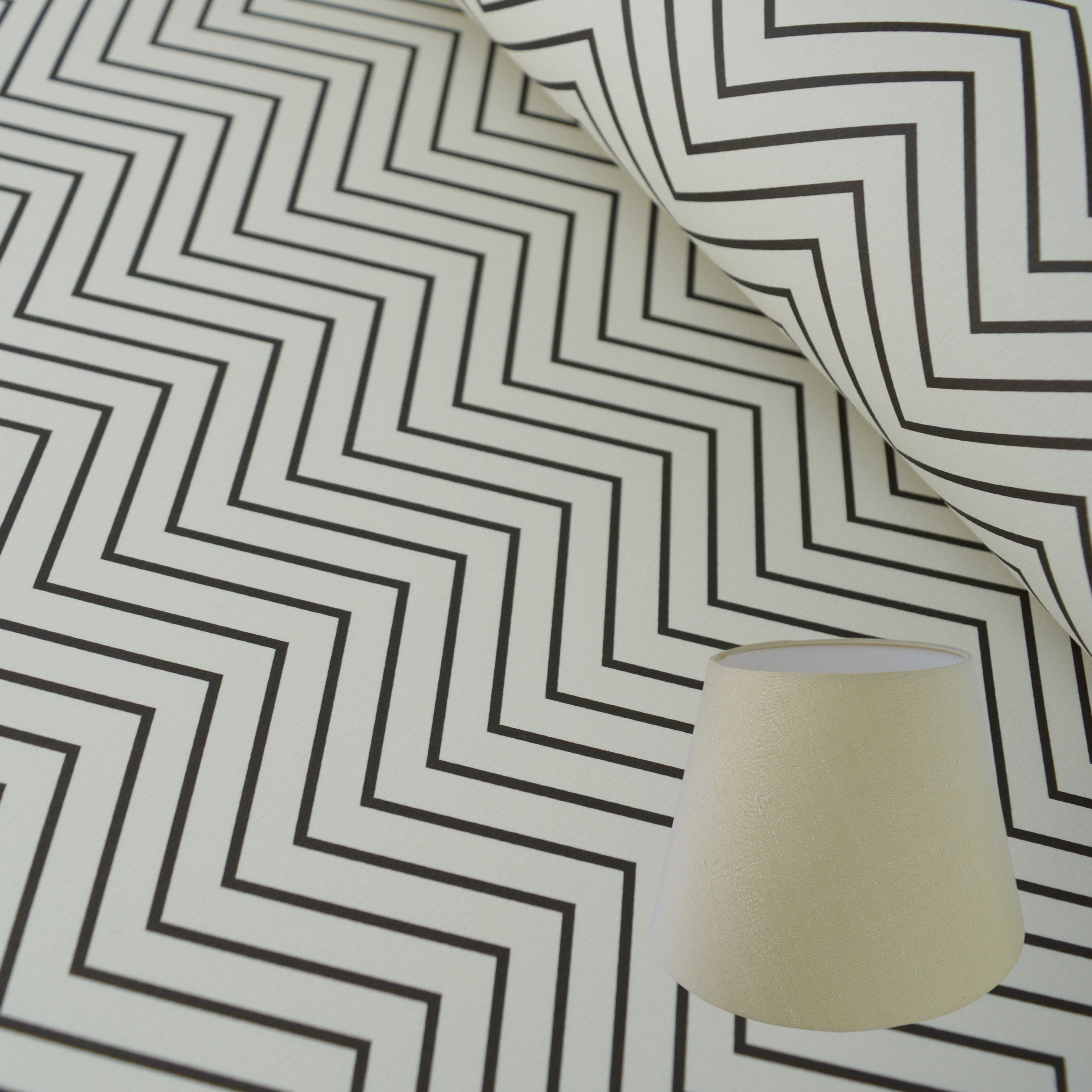 Munro and Kerr zig zag black and white monochrome paper for an empire lampshade