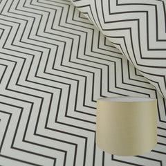 Munro and Kerr zig zag black and white monochrome paper for a tapered drum lampshade