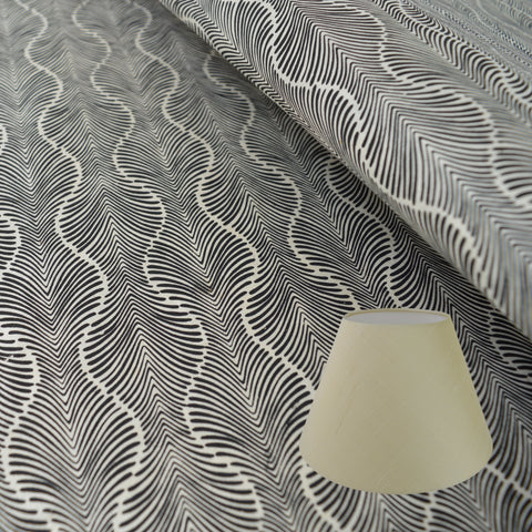 Munro and Kerr black and white monochrome hand printed paper for a lampshade