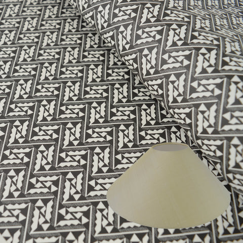 Munro and Kerr black and white monochrome printed Esme Winter paper for a coolie lampshade