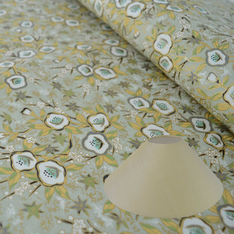 Munro and Kerr gold floral chiyogami paper for making into coolie lampshades