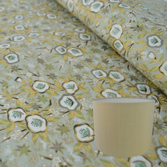 Munro and Kerr gold floral chiyogami paper for a drum lampshades