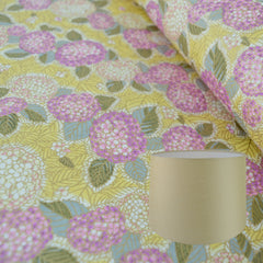 Munro and Kerr gold floral chiyogami paper for making into a tapered drum  lampshade