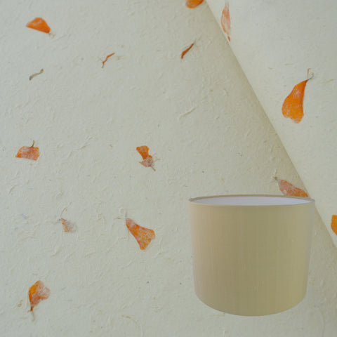 Munro and Kerr real marigold petal paper for a handmade drum lampshade