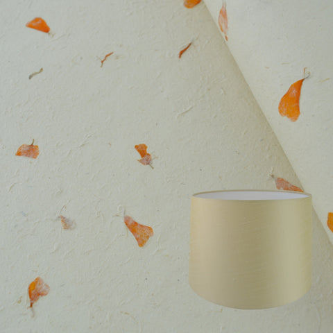 Munro and Kerr real marigold petal paper for a handmade tapered drum lampshade
