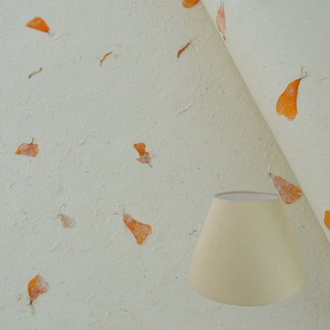 Munro and Kerr real marigold petal paper for a handmade lampshade
