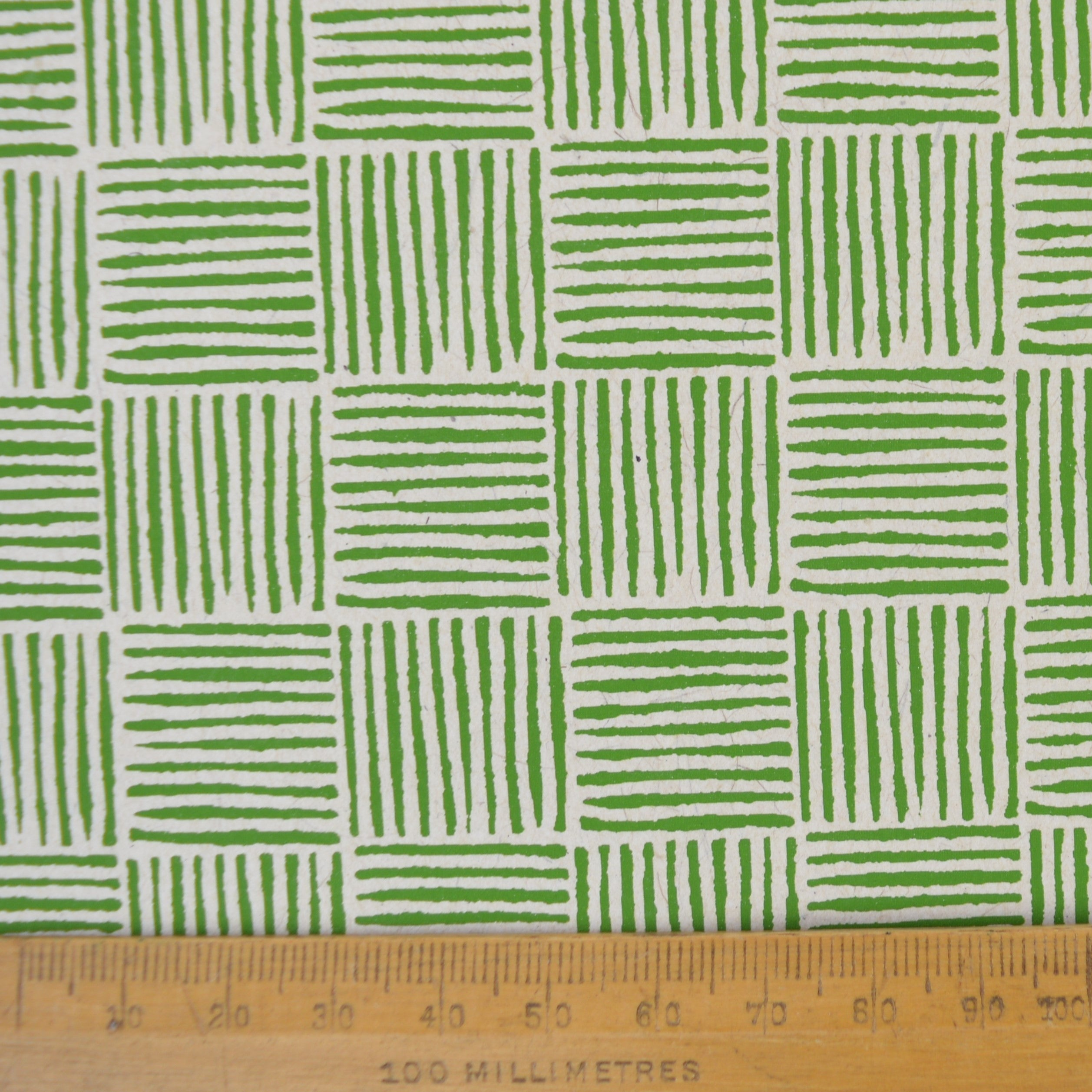 Munro and Kerr green hand printed paper for a lampshade