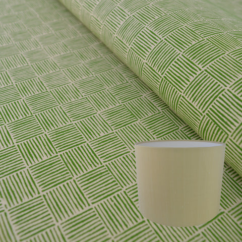 Munro and Kerr green hand printed paper for a drum lampshade