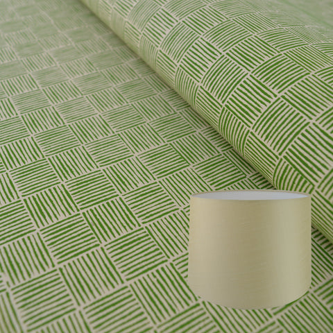 Munro and Kerr green hand printed paper for a tapered drum lampshade
