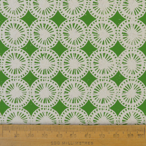 Munro and Kerr green hand printed dandelion paper for a lampshade