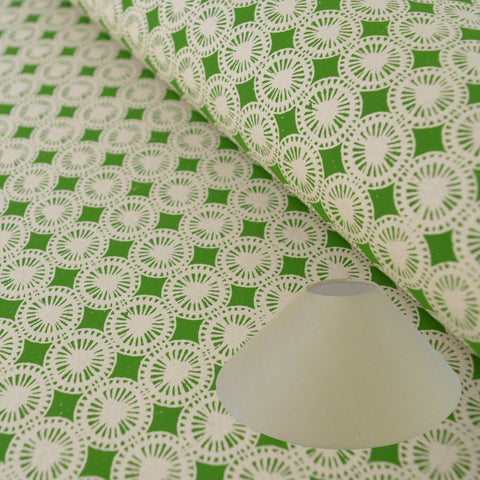 Munro and Kerr green hand printed dandelion paper for a coolie lampshade