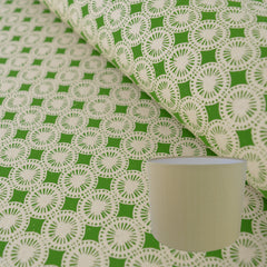 Munro and Kerr green hand printed dandelion paper for a drum lampshade