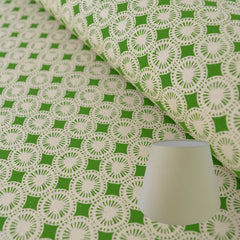 Munro and Kerr green hand printed dandelion paper for an empire lampshade