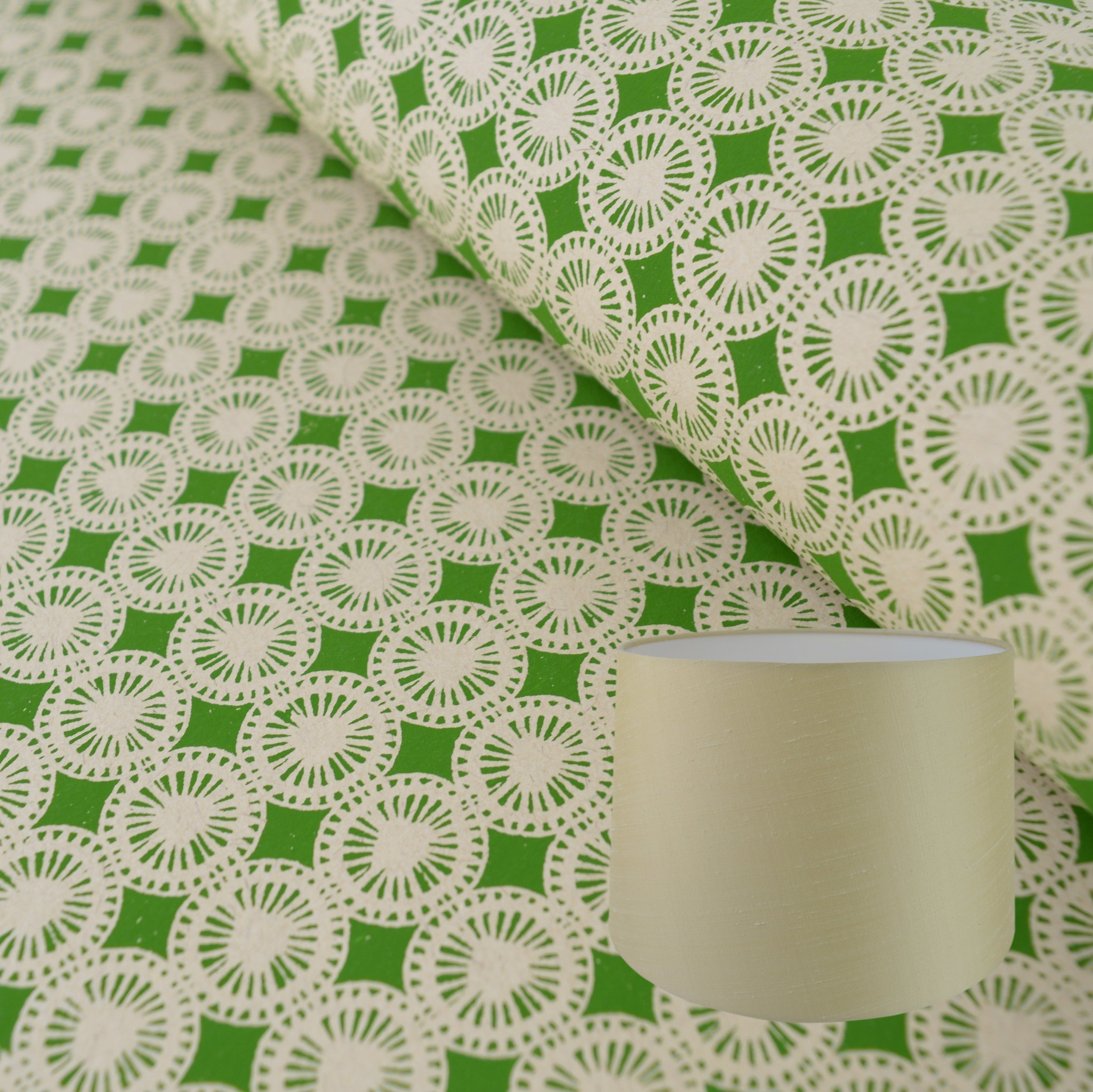 Munro and Kerr green hand printed dandelion paper for a tapered drum lampshade