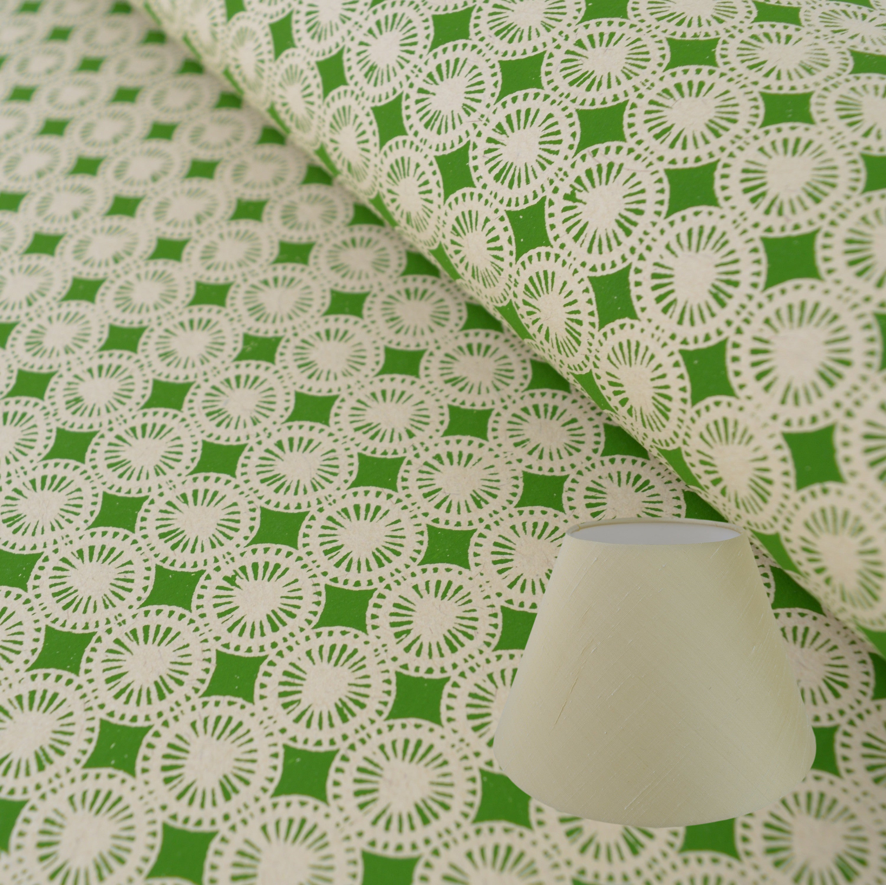 Munro and Kerr green hand printed dandelion paper for a tapered empire lampshade