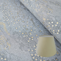 Munro and Kerr grey and gold hand printed paper for an empire lampshade