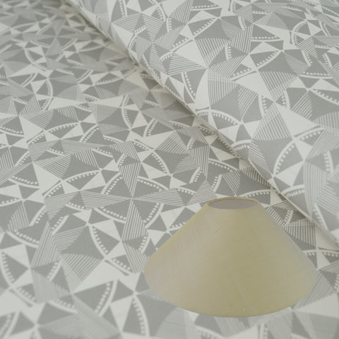 Munro and Kerr grey printed geometric Esme Winter paper for a coolie lampshade