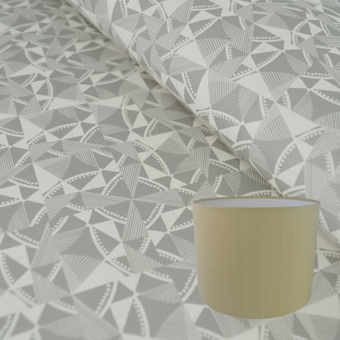 Munro and Kerr grey printed geometric Esme Winter paper for a drum lampshade