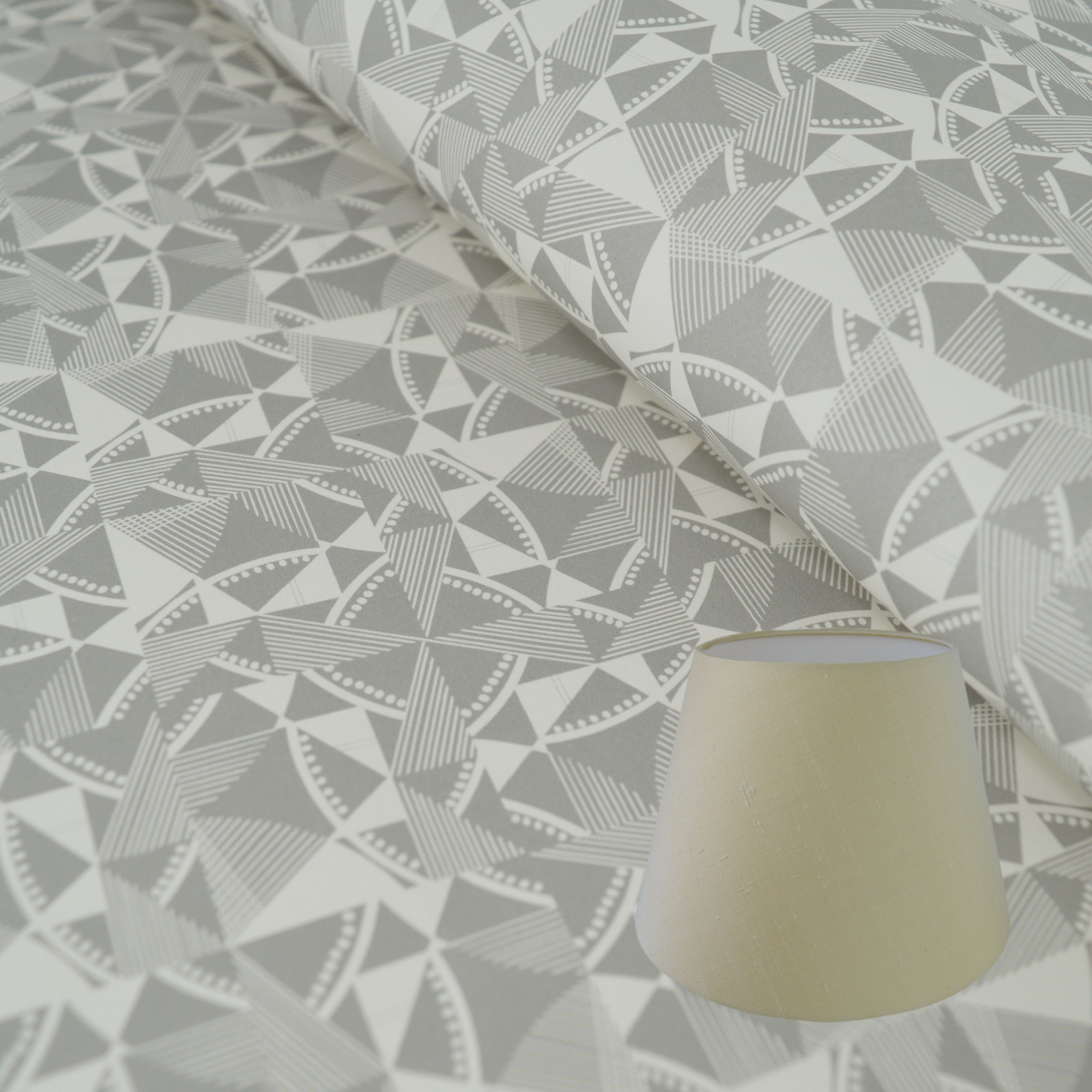 Munro and Kerr grey printed geometric Esme Winter paper for an empire lampshade
