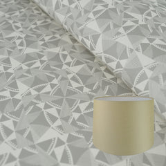 Munro and Kerr grey printed geometric Esme Winter paper for a tapered drum lampshade