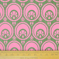 Munro and Kerr hand printed green and pink paper for a lampshade