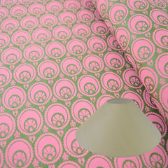 Munro and Kerr hand printed green and pink paper for a coolie lampshade