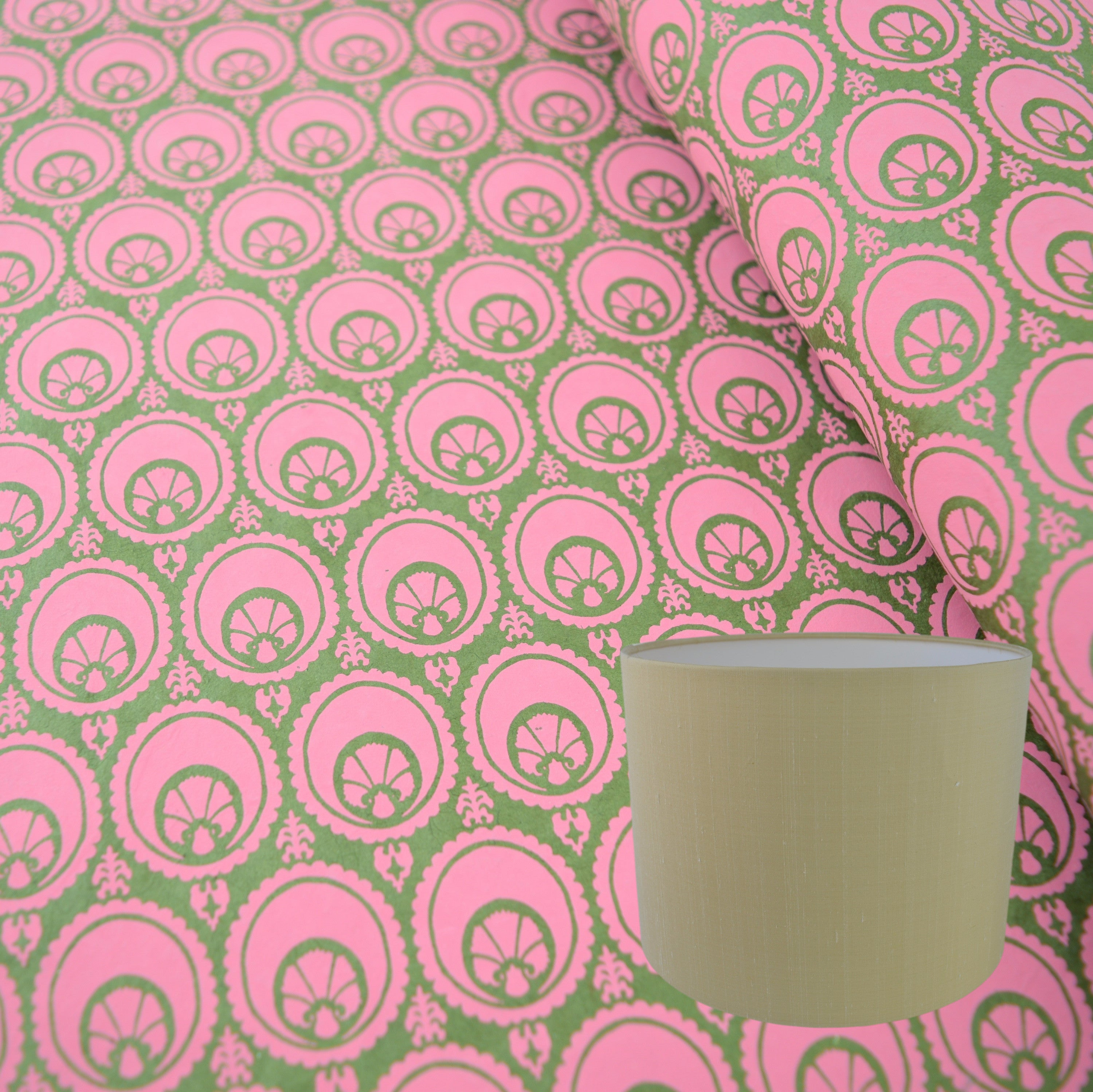 Munro and Kerr hand printed green and pink paper for a drum lampshade