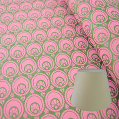 Munro and Kerr hand printed green and pink paper for an empire lampshade