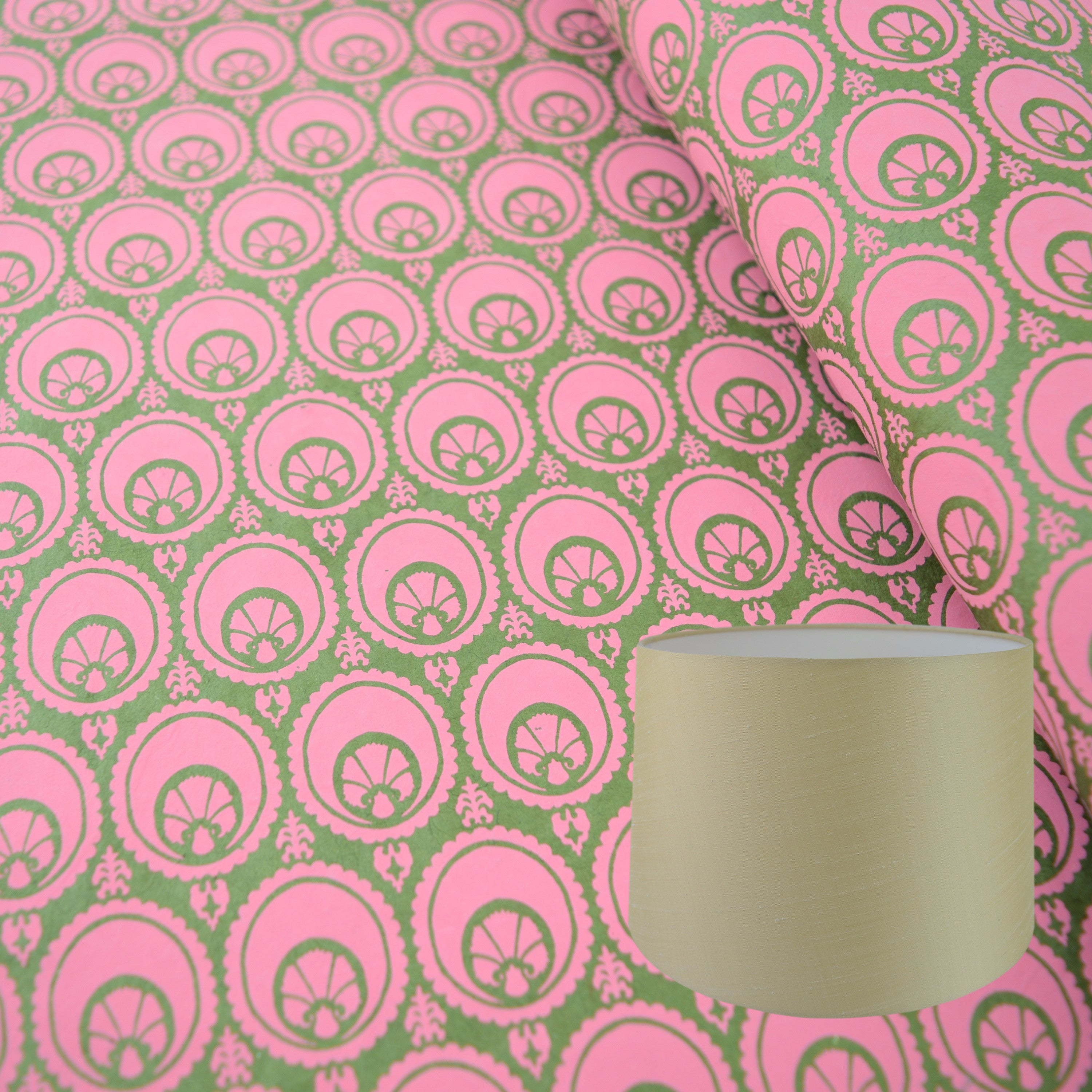 Munro and Kerr hand printed green and pink paper for a tapered drum lampshade