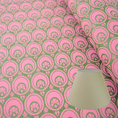 Munro and Kerr hand printed green and pink paper for a tapered empire lampshade
