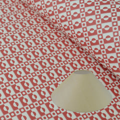 Munro and Kerr cherry red printed Esme Winter paper for a lampshade