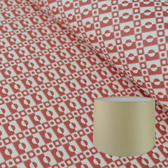 Munro and Kerr cherry red printed Esme Winter paper for a tapered drum lampshade