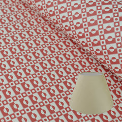 Munro and Kerr cherry red printed Esme Winter paper for a tapered empire lampshade