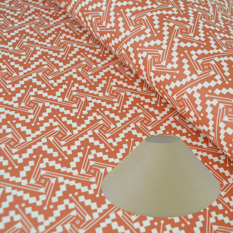 Munro and Kerr tomato red printed Esme Winter paper for a coolie lampshade