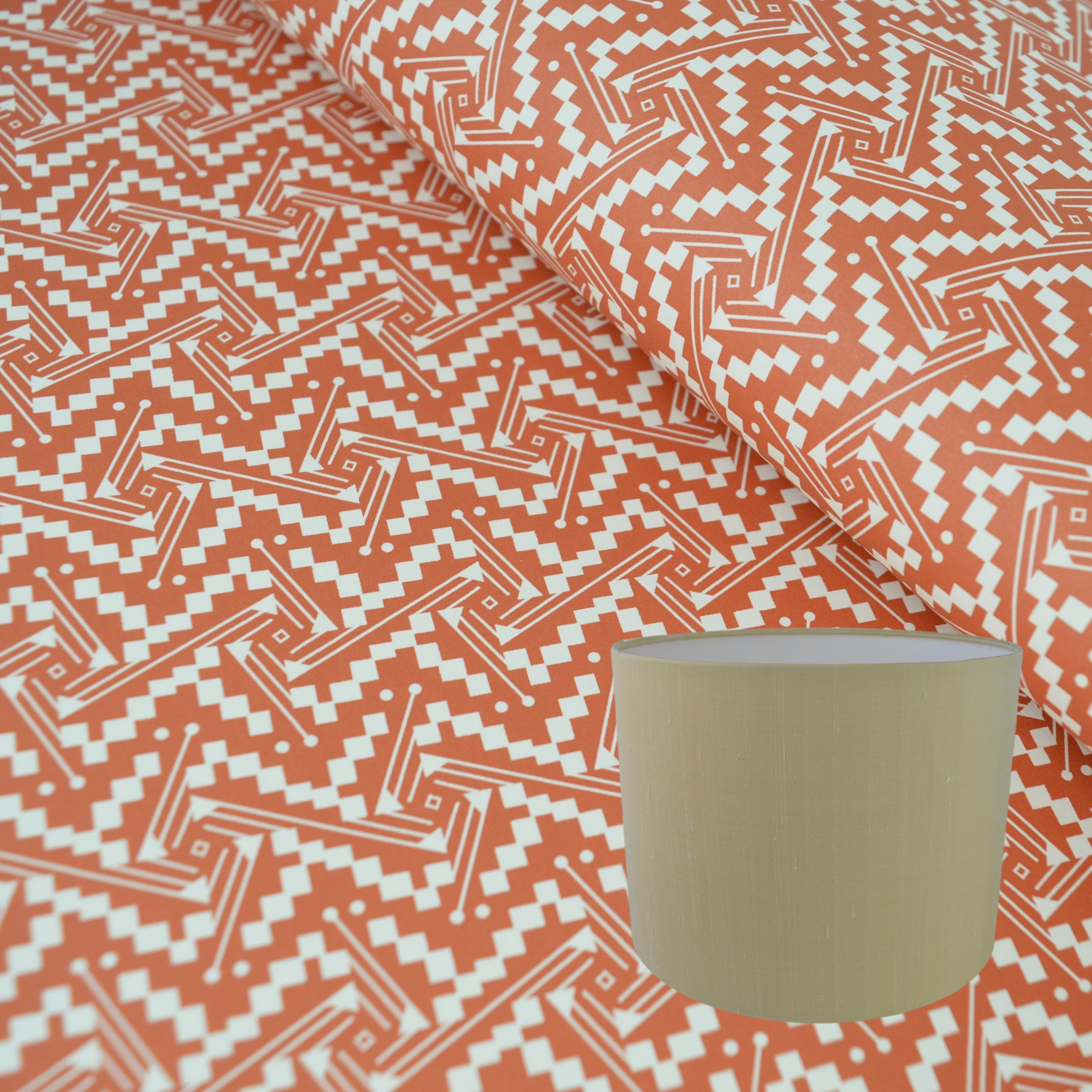 Munro and Kerr tomato red printed Esme Winter paper for a drum lampshade