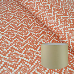 Munro and Kerr tomato red printed Esme Winter paper for a tapered drum lampshade