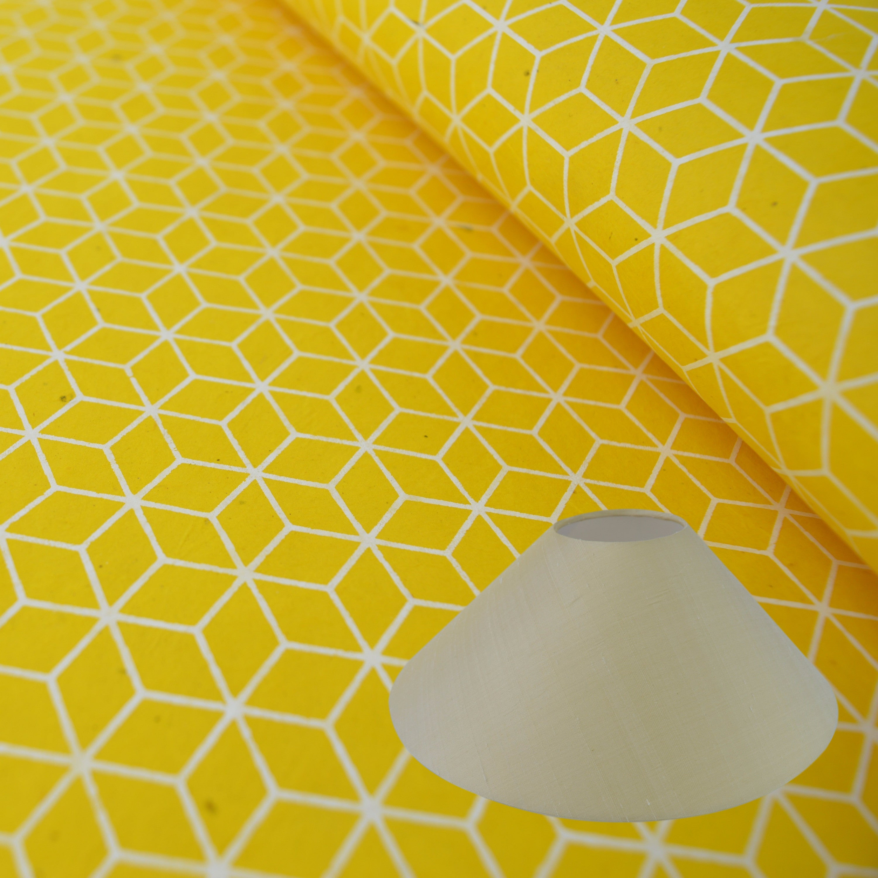 Munro and Kerr yellow geometric hand printed paper for a coolie lampshade