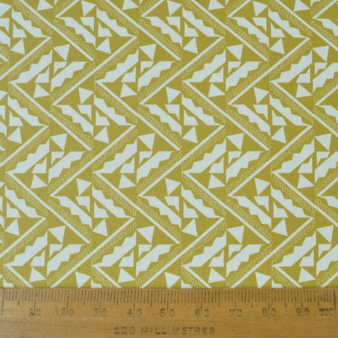 Munro and Kerr yellow printed Esme Winter paper for a lampshade